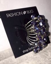 Purple Beaded Ring Size 8 Fashion Bug - Coil Twisted Beads - Customize To Desire