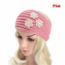 Women Floral Pearl Knitted Crochet Knit Turban Ear Warmer Head Wrap Headband Pink