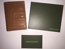 NEW Authentic Longchamp Ladies Compact Leather Wallet Tan Card Holder SAVE