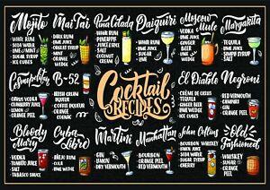 Cocktail Recipe Wall Decor Art | A4 - A0 | E099