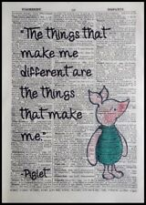 Piglet Quote Vintage Dictionary Page Picture Print Wall Art Winnie The Pooh Gift