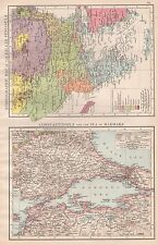 1896  LARGE ANTIQUE  MAP : ETHNOGRAPHIC MAP BALKANS, CONSTANTINOPLE AND MARMARA
