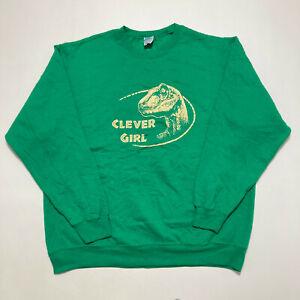 Jurassic Park Clever Girl Unisex Sweatshirt Green Crew Neck Jumper Size XL