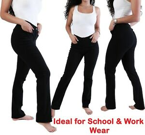 Girls Black School Trousers Straight leg Stretch women office work trouser