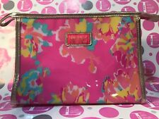 Lilly Pulitzer For Estee Lauder LARGE FLORAL Zippered LINED COSMETIC BAG
