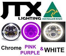 "1pr7"" Chrome LED Headlights PURPLE & WHITE Halo Hillman Hunter Gazelle Minx"