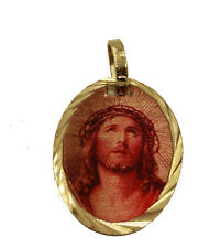Jesus Christ Face Pendant - Cristo Iluminado Medal 14k Gold Plated Necklace