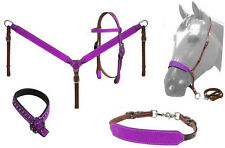 Western Horse Bling! Glitter Leather Tack Set Bridle Headstall w/ Breast Collar