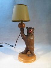 ANCIENNE LAMPE EN BOIS SCULPTE OURS FORET NOIRE 1950