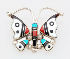 Native American Zuni Handmade Sterling with Inlay Butterfly Pin/Pendant