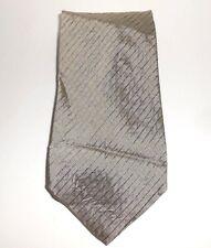 BACHRACH Tie MADE IN ITALY SILK DESIGNER NECKTIE Tan Gray Stripe