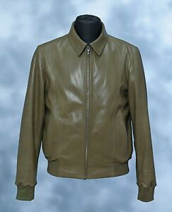 $8840 Kiton Napoli Green Lambskin Leather Bomber Jacket Handmade Stitching 44/54