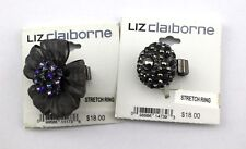 LIZ CLAIBORNE Lot Of 2 Flower Bow Crystal Rhinestone Cocktail Stretchy Rings NWT