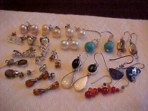15 Pr Vintage EARRINGS w/ Sterling Silver Posts/Wires Pearls Turquoise Crystals