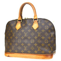 Authentic LOUIS VUITTON LV Alma Hand Bag Monogram Leather Brown M51130 62MD141