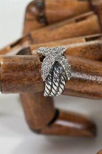 David Yurman 18K White Gold/925 Diamond X Crossover Triple Cable Ring Sz 5 6.51g