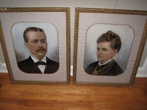 PAIR VICTORIAN ORIGINAL PORTRAITS GOUACHE/OIL Stately Gentleman & Wife Framed