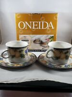 NEW OLD STOCK ONEIDA ORCHARD FRUIT PATTERN SET OF 2 CUPS AND 2 SAUCERS