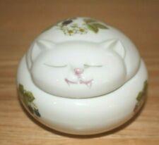 Takahashi Japan Porcelain Trinket Box Kitty Sleeping Cat w/ berries and leaves