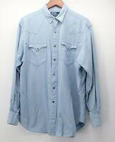 Polo Ralph Lauren Men's Large Western Metal Snap Blue Plaid L/S Shirt euc