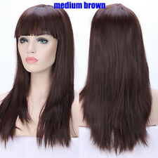 Dip Dyeing Gray Pink Red Cosplay Full Wig Heat Resistant Synthetic Wigs False Z3