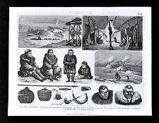 1874 Anthropology Print - Siberia Culture - Koryak Village Kamchatka - Russia