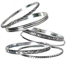 60MM_SET OF 6_ASSORTED SILVER BANGLE BRACELETS_#BSL6-S__925 STERLING SILVER