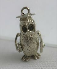 Charm w/Mortarboard & Diploma Vintage Sterling Silver Articulated GraduationOwl