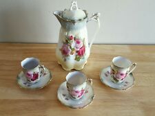 Antique FG Germany Tea Set of 3 Teacups and 3 Saucers with Teapod