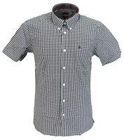 Merc Terry Black/White Gingham Cotton Short Sleeved Retro Mod Button Down Shirts