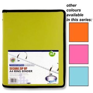 Premier Office A4 Secure Zip Up Storage 2 Ring Binder 4 Assorted Colours x4