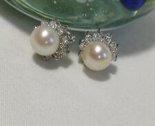 Genuine 7.5-8mm  Freshwater pearl in sterling silver CZ sunflower stud earrings