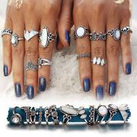 12pcs Boho Women Stack Plain Above Knuckle Ring Opal Midi Finger Tip Rings Set