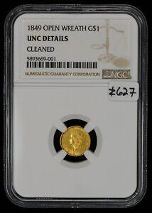 1849 Type-1 G$1 Liberty Head Gold Dollar - Open Wreath - NGC UNC Details - #Z627