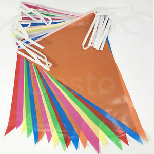 33ft Banner Bunting Multicolored PVC Plastic Birthday Wedding Party Decor Flags