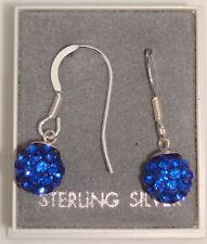 PAIR 925 STERLING SILVER SHAMBALLA CRYSTAL DISCO BALL DROP DANGLE EARRINGS + BOX