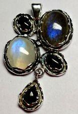 Labradorite, Rainbow Moonstone,Black Onyx 925 Sterling Silver Pendant