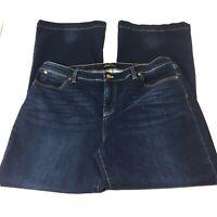 Talbots Flawless Five Pocket Womens Plus Size 16 Flare Jeans Dark Wash Denim   Q