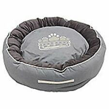 SMALL BEST IN SHOW CAT KITTEN PUPPY SML BREED 50cm GREY BED WITH PAW PRINT CROWN