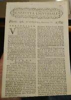 1784 'GAZZETTA UNIVERSALE' SU GUERRA IN OLANDA, SUD AMERICA, TURCHIA; ECC.