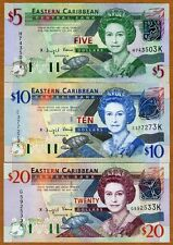 SET Eastern East Caribbean, $5;10;20 (2003), St Kitts, Pick 42k-43k-44k UNC