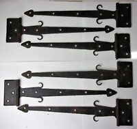 6 Antique Vintage Decorative Barn Door Hinges Wrought Iron Made in Germany 12""