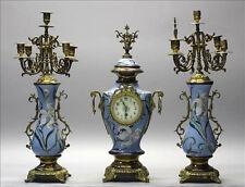 Xl French blue art nouveau faience floral clock set candelabras 1920