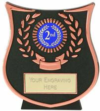 Emblems-Gifts Curve Bronze 2nd Plaque Trophy With Free Engraving
