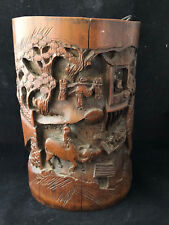 Antique Chinese Carved Bamboo China Pot Sculpté Ancien Chinois