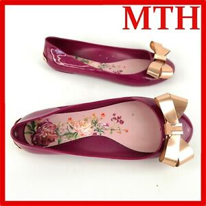 Ted Baker Twinkle Toes Flat Shoes Ballet Pumps Ladies Purple Gloss Size 5 EU 39