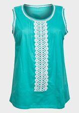 NUOVO Turchese Blu Verde Acqua Cotone Top Shirt bianca blusa di pizzo all'uncinetto taglie 20