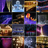 96-300 LED Icicle Hanging Snowing Curtain Fairy String Lights Xmas Party Decor