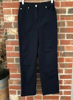 St John Sport Womens Pants Navy Blue Stretch Cotton Gold Accents 26 x 28 Size 4