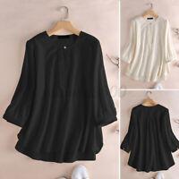 ZANZEA Women Loose Cotton 3/4 Sleeve Shirt Tops Button Down High Low Blouse Plus